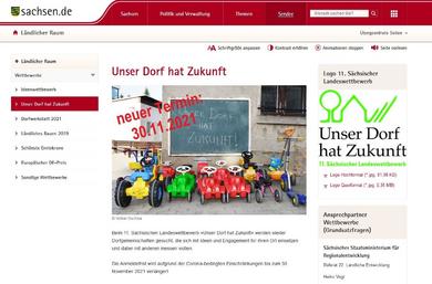 Screenshot: Sächsisches Staatsministerium für Regionalentwicklung