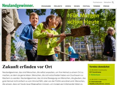 Screenshot www.neulandgewinner.de